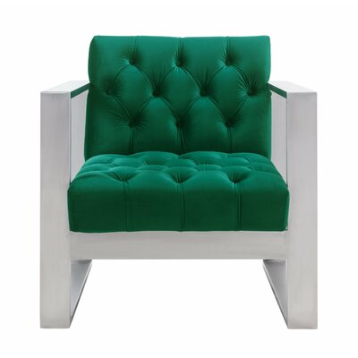 Chevy Velvet Armchair Upholstery Color: Green