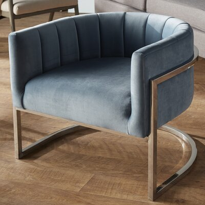 Estevao Barrel Chair Upholstery: Sea Blue, Finish: Silver