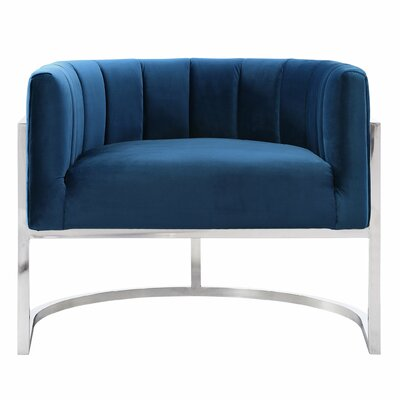 Estevao Barrel Chair Upholstery: Navy, Finish: Silver