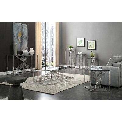 Kendra Glass and Stainless Steel 6 Piece Coffee Table Set