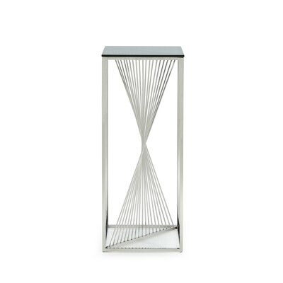 Kendra 3 Piece Glass and Stainless Steel End Table Set