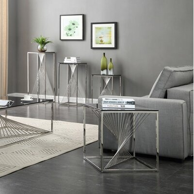 Kendra Glass and Stainless Steel End Table