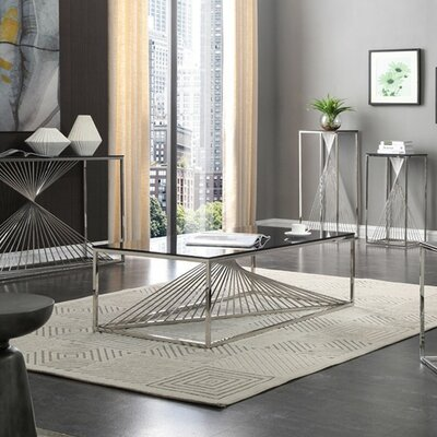 Kendra Glass and Stainless Steel Coffee Table