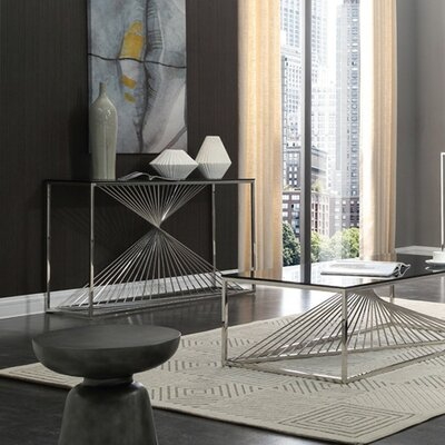 Kendra Glass and Stainless Steel Console Table