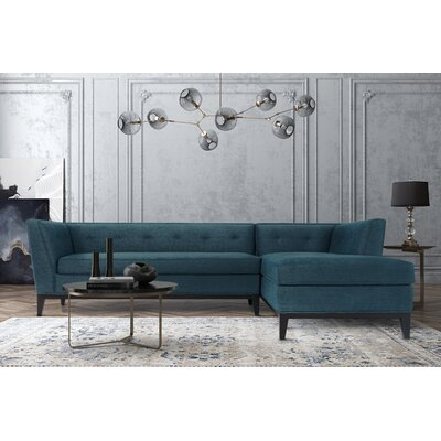 Ayer Textured Linen Chaise Sectional Upholstery: Azure, Orientation: Right Hand Facing