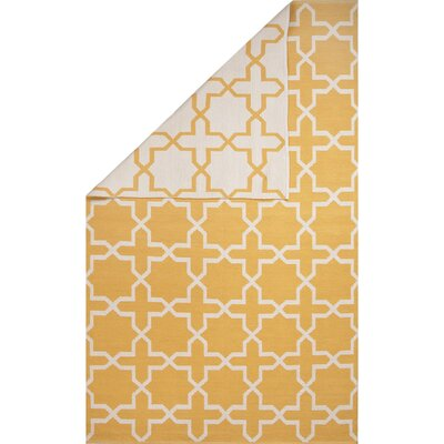 Heathrow Cotton Flat Weave Yellow/White Area Rug Rug Size: 8 x 11
