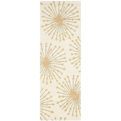 Mcguire Hand-Tufted Wool Beige/Gold Tribal Area Rug Rug Size: Runner 23 x 7
