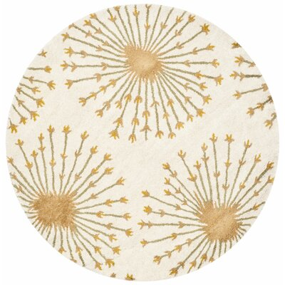 Mcguire Hand-Tufted Wool Beige/Gold Tribal Area Rug Rug Size: Round 5