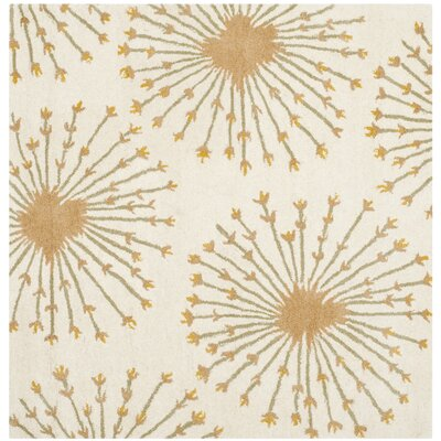 Mcguire Hand-Tufted Wool Beige/Gold Tribal Area Rug Rug Size: Square 5