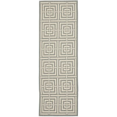 Mayer Grey/Cream Outdoor Rug Rug Size: Runner 23 x 16