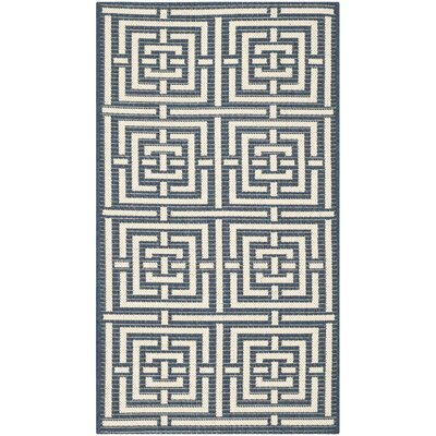 Mayer Navy/Beige Outdoor Rug Rug Size: 53 x 77
