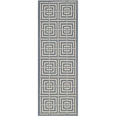 Mayer Navy/Beige Outdoor Rug Rug Size: Runner 23 x 10