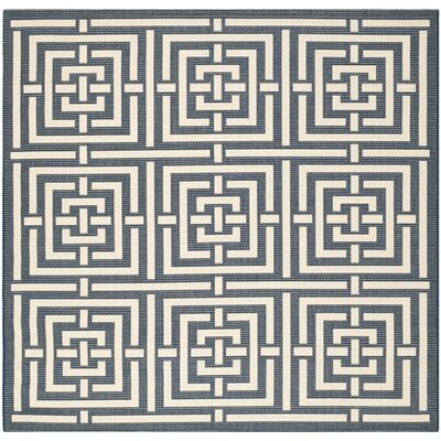 Mayer Navy/Beige Outdoor Rug Rug Size: Square 67