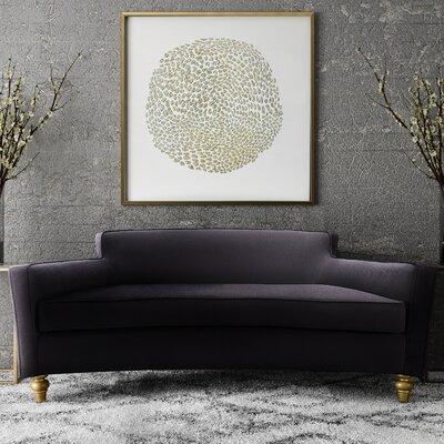 Jarne Velvet Sofa Upholstery: Black, Finish: Gold