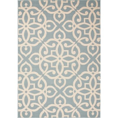 Charlena Teal/Taupe Indoor/Outdoor Area Rug Rug Size: 53 x 76