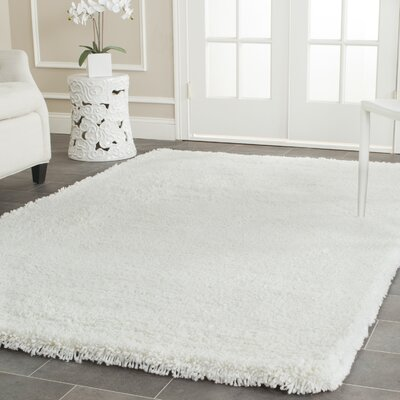Maya Solid White Area Rug Rug Size: Rectangle 86 x 116