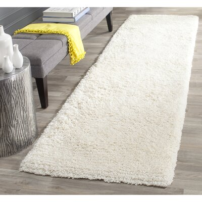 Maya Solid White Area Rug Rug Size: Runner 26 x 6