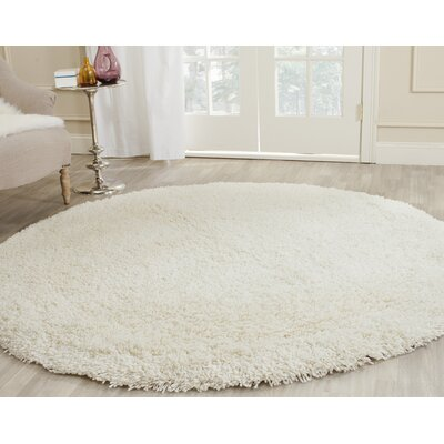 Maya Solid White Area Rug Rug Size: Round 6