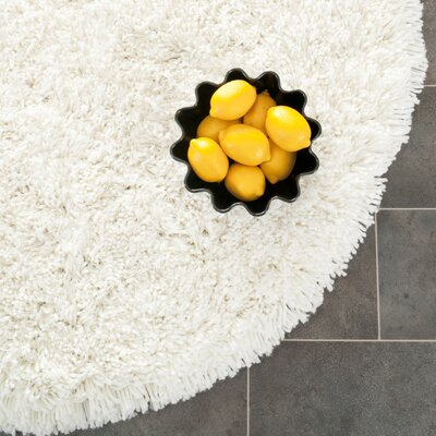 Maya Solid White Area Rug Rug Size: Round 4