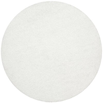 Maya White Area Rug Rug Size: Round 7