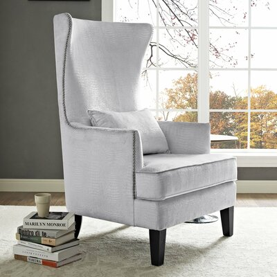 Jacinto Velvet Wingback Chair Upholstery: Silver Croc