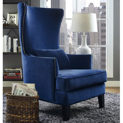 Jacinto Velvet Wingback Chair Upholstery: Navy