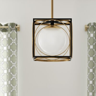 Romans 1-Light Foyer Pendant Finish: Aged Brass, Size: 10.5 H X 10 W X 10 D