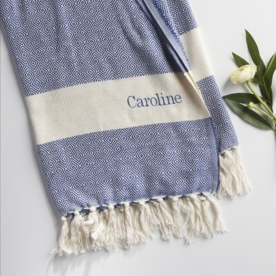 Personalized Cotton Throw Blanket Color: Blue Denim