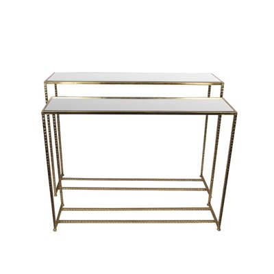 Portland 2 Piece Iron & Glass End Table Set