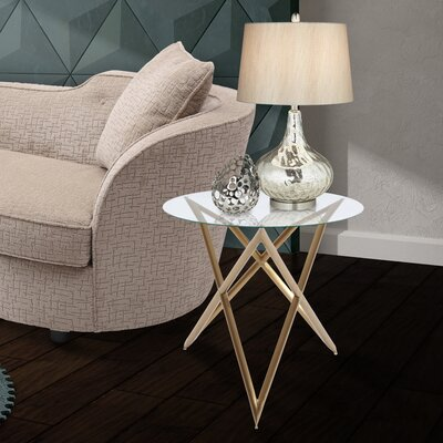 Borkowski End Table Base Finish: Brushed Gold