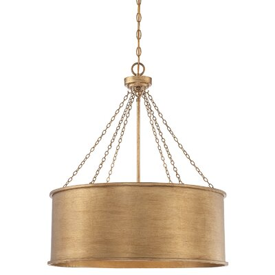 Bowe 6-Light Drum Pendant Finish: Gold Patina