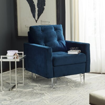 Gertz Arm Chair Fabric: Navy/Clear