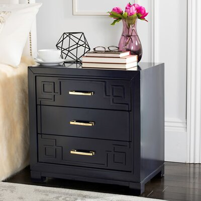 Bindera 3 Drawer Nightstand Color: Navy