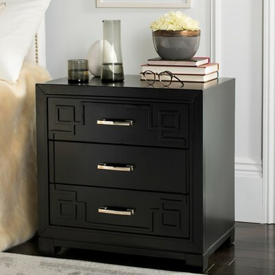 Bindera 3 Drawer Nightstand Color: Black