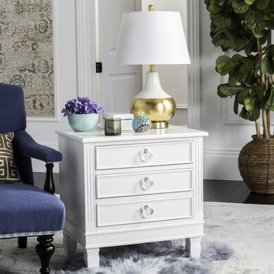 Pierre 3 Drawer Nightstand Color: White