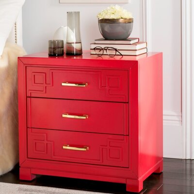 Bindera 3 Drawer Nightstand Color: Red