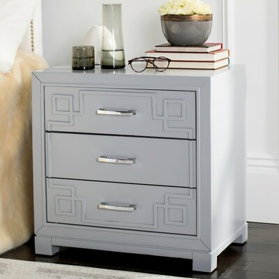 Lazuli 3 Drawer Nightstand Finish: Gray