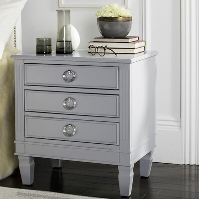 Pierre 3 Drawer Nightstand Color: Gray
