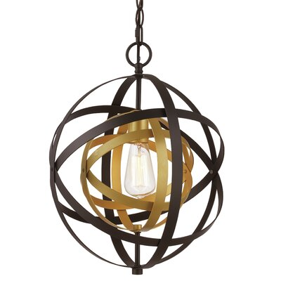 Hawaiian Gardens 1-Light Globe Pendant Finish: Antique Gold/Black, Size: 113.75 H x 12 W x 12 D