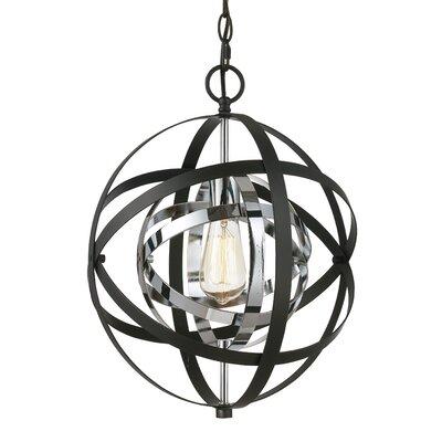 Rhinecliff 1-Light Globe Pendant Size: 113.75 H x 12 W x 12 D, Finish: Polished Chrome/Black