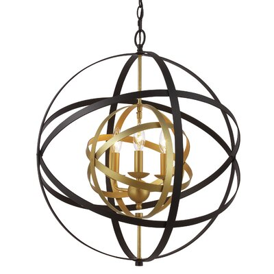 Rhinecliff 3-Light Globe Pendant Finish: Antique Gold/Black