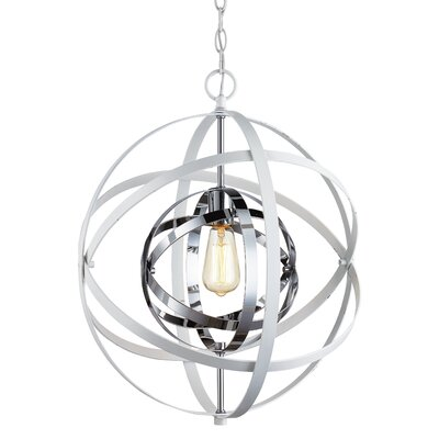 Hawaiian Gardens 1-Light Globe Pendant Finish: White/Polished Chrome, Size: 117.75 H x 18 W x 18 D