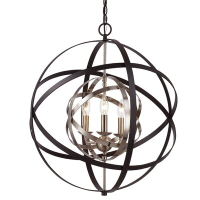 Rhinecliff 3-Light Globe Pendant Finish: Oil Rubbed Bronze/Antique Silver Leaf