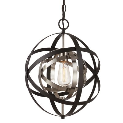Hawaiian Gardens 1-Light Globe Pendant Finish: Oil Rubbed Bronze/Antique Silver Leaf, Size: 113.75 H x 12 W x 12 D