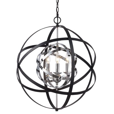 Rhinecliff 3-Light Globe Pendant Finish: Polished Chrome/Black