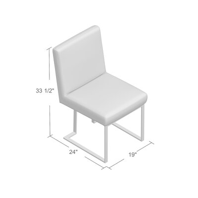 Espinoza Side Chair Upholstery: White, Finish: Silver