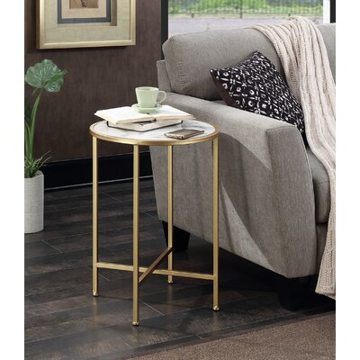 Melandra Faux Marble Round End Table