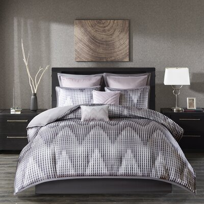 Mirabella Reversible Comforter Set Size: King, Color: Lavender