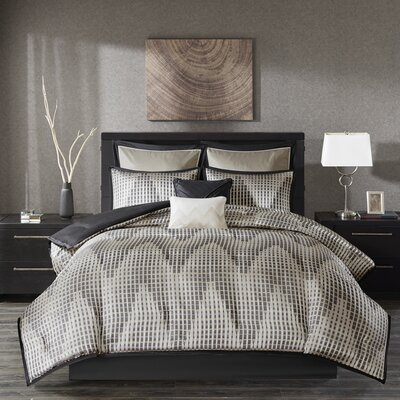 Bowersox Reversible Comforter Set Size: King, Color: Black