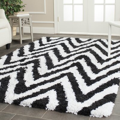 Davey Ivory / Black Shag Rug Rug Size: Rectangle 89 x 12